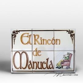 """Rótulo Cerámico """" Rincón de la Abuela"""""""