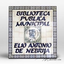 """Rótulo Cerámico """" Biblioteca """""""