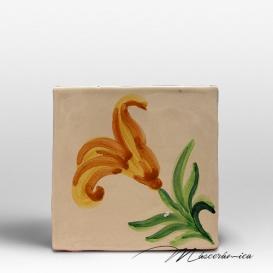 "Azulejo Rústico ""Flor"" Naranja"