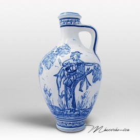 Botija de Cerámica de Montería Azul